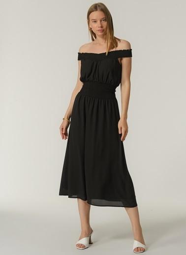 People By Fabrika Kadın Carmen Yaka  Elbise PFKSS21EL0118 Siyah